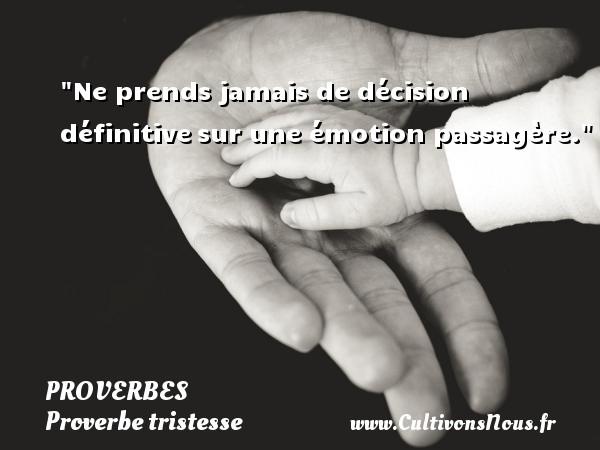 Ne prends jamais de décision définitivesur une émotion passagère.   Un proverbe sur la tristesse PROVERBES - Proverbe tristesse