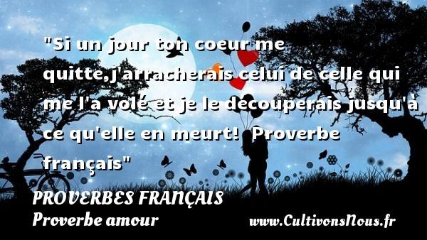 Si un jour ton coeur me quitte,j arracherais celui de celle qui me l a volé et je le découperais jusqu à ce qu elle en meurt!   Proverbe français   Un proverbe sur l amour PROVERBES FRANÇAIS - Proverbes français - Proverbe amour