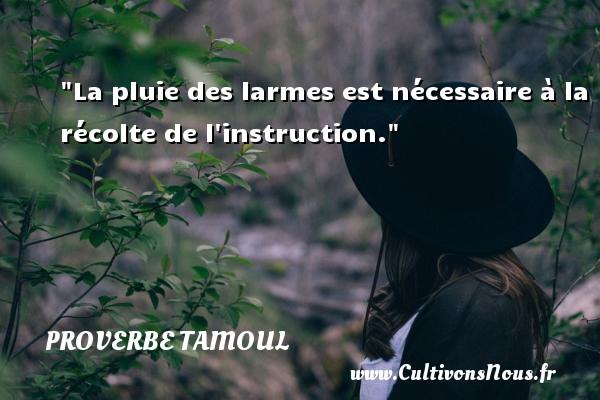 La pluie des larmes est nécessaire à la récolte de l instruction. Un proverbe tamoul PROVERBES TAMOULS