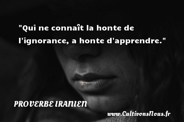 Proverbe iranien - Proverbe apprendre - Qui ne connaît la honte de l ignorance, a honte d apprendre. Un proverbe iranien PROVERBE IRANIEN