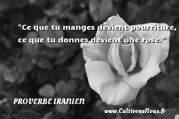 Proverbe iranien - Proverbe rose - Ce que tu manges devient pourriture, ce que tu donnes devient une rose. Un proverbe iranien PROVERBE IRANIEN