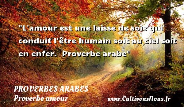 Proverbes arabes - Proverbe amour - L amour est une laisse de soie qui conduit l être humain soit au ciel soit en enfer.   Proverbe arabe   Un proverbe sur l amour PROVERBES ARABES