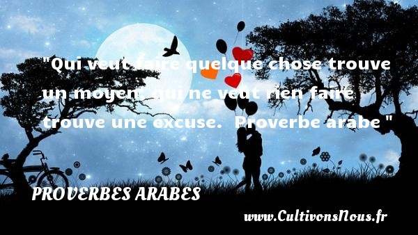 Proverbes arabes - les meilleures citations - Qui veut faire quelque chose trouve un moyen, qui ne veut rien faire trouve une excuse.   Proverbe arabe PROVERBES ARABES