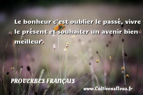 Proverbes français - Le bonheur c est oublier le passé, vivre le présent et souhaiter un avenir bien meilleur. Un proverbe Français PROVERBES FRANÇAIS