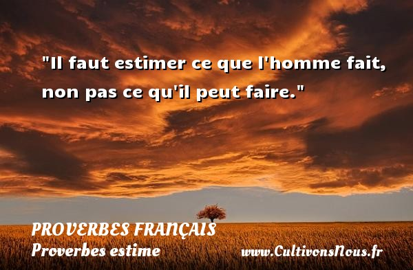 Il faut estimer ce que l homme fait, non pas ce qu il peut faire.   Un proverbe français PROVERBES FRANÇAIS - Proverbes français - Proverbes estime