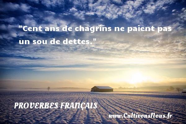 Cent ans de chagrins ne paient pas un sou de dettes.  Un proverbe français PROVERBES FRANÇAIS - Proverbes français