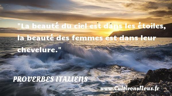 Proverbes italiens - Proverbe beauté - La beauté du ciel est dans les étoiles, la beauté des femmes est dans leur chevelure.  Un proverbe italien PROVERBES ITALIENS
