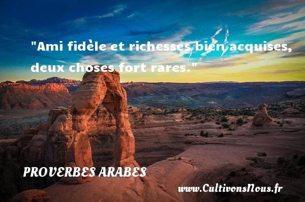 Ami fidèle et richesses bien acquises, deux choses fort rares.   Un proverbe arabe PROVERBES ARABES - Proverbe fidèle - Proverbes Amitié