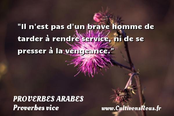 Il n est pas d un brave homme de tarder à rendre service, ni de se presser à la vengeance.   Un proverbe arabe PROVERBES ARABES - Proverbes vice