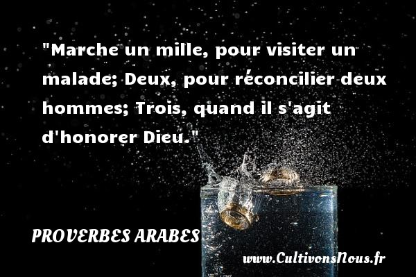Proverbes - Proverbes arabes - Marche un mille, pour visiter un malade; Deux, pour réconcilier deux hommes;  Trois, quand il s agit d honorer Dieu. Un proverbe arabe PROVERBES ARABES