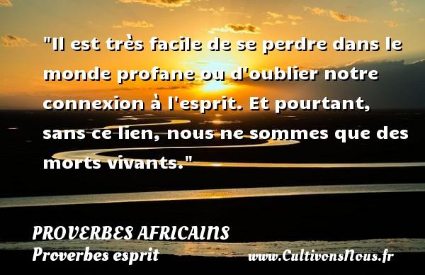 Proverbes africains - Proverbes esprit - Il est très facile de se perdre dans le monde profane ou d oublier notre connexion à l esprit. Et pourtant, sans ce lien, nous ne sommes que des morts vivants.   Un proverbe africain PROVERBES AFRICAINS