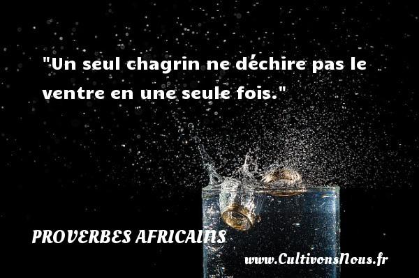 Proverbes africains - Un seul chagrin ne déchire pas le ventre en une seule fois.  Un proverbe africain PROVERBES AFRICAINS