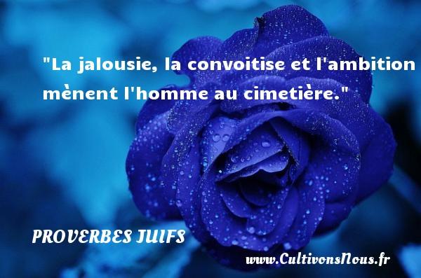 Proverbes juifs - Proverbe ambition - La jalousie, la convoitise et l ambition mènent l homme au cimetière.  Un proverbe juif PROVERBES JUIFS