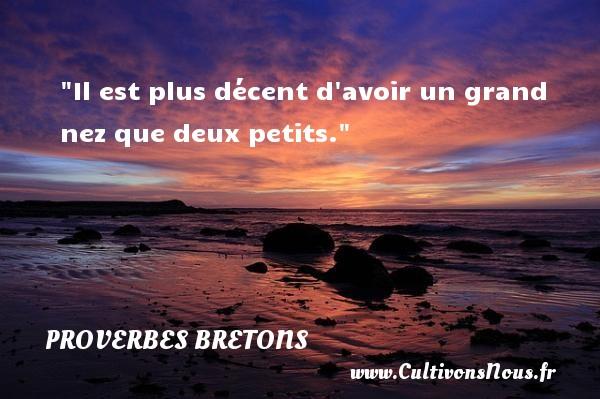 Proverbes bretons - Il est plus décent d avoir un grand nez que deux petits.  Un proverbe breton PROVERBES BRETONS