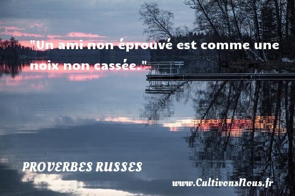 Un ami non éprouvé est comme une noix non cassée.   Un proverbe russe PROVERBES RUSSES - Proverbes Amitié