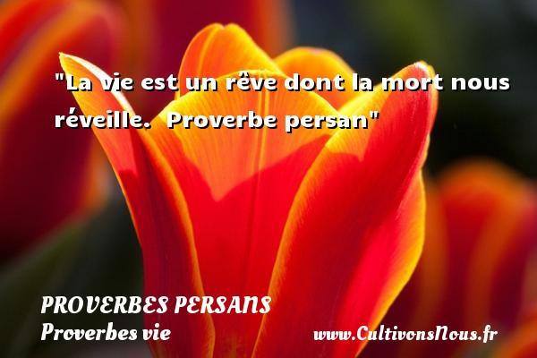 Proverbes persans - Proverbes vie - La vie est un rêve dont la mort nous réveille.   Proverbe persan   Un proverbe sur la vie PROVERBES PERSANS