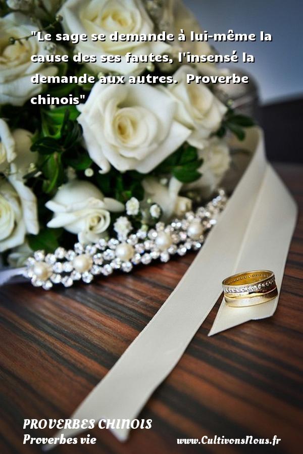 proverbes chinois - Proverbes vie - Le sage se demande à lui-même la cause des ses fautes, l insensé la demande aux autres.   Proverbe chinois   Un proverbe sur la vie PROVERBES CHINOIS