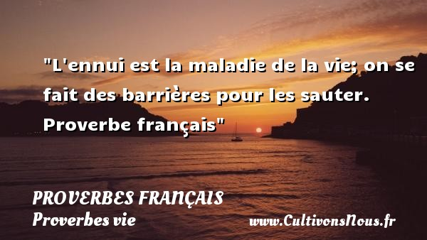 Proverbes français - Proverbes vie - L ennui est la maladie de la vie; on se fait des barrières pour les sauter.   Proverbe français   Un proverbe sur la vie PROVERBES FRANÇAIS