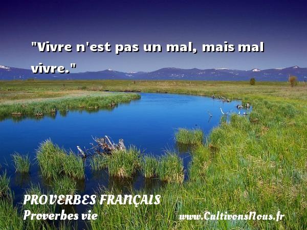 Vivre n est pas un mal, maismal vivre.  Un proverbe sur la vie PROVERBES FRANÇAIS - Proverbes français - Proverbes vie