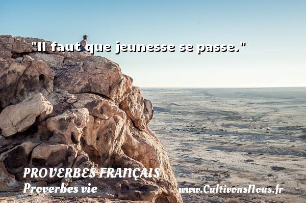 Il faut que jeunesse sepasse.  Un proverbe sur la vie PROVERBES FRANÇAIS - Proverbes français - Proverbes vie