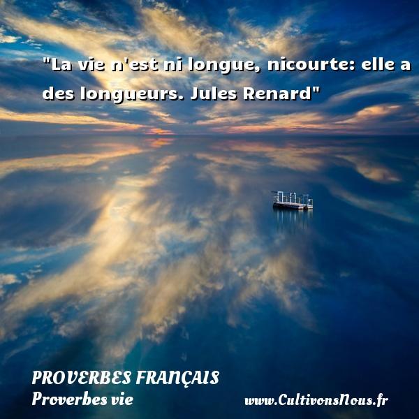 La vie n est ni longue, nicourte: elle a des longueurs.  Jules Renard  Un proverbe sur la vie PROVERBES FRANÇAIS - Proverbes français - Proverbes vie