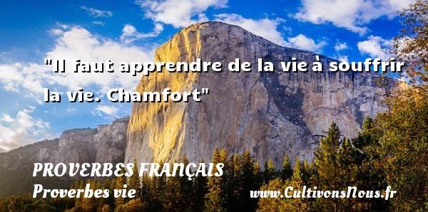 Il faut apprendre de la vieà souffrir la vie. Chamfort  Un proverbe sur la vie PROVERBES FRANÇAIS - Proverbes français - Proverbes vie