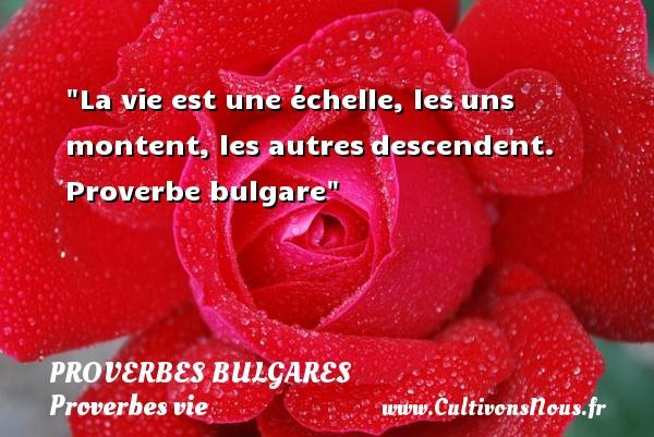 La vie est une échelle, lesuns montent, les autresdescendent.  Proverbe bulgare  Un proverbe sur la vie PROVERBES BULGARES - Proverbes vie