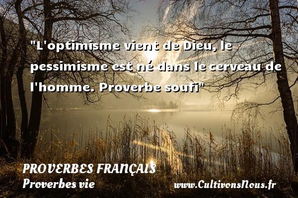 L optimisme vient de Dieu,le pessimisme est né dans lecerveau de l homme.  Proverbe soufi  Un proverbe sur la vie PROVERBES FRANÇAIS - Proverbes français - Proverbes vie