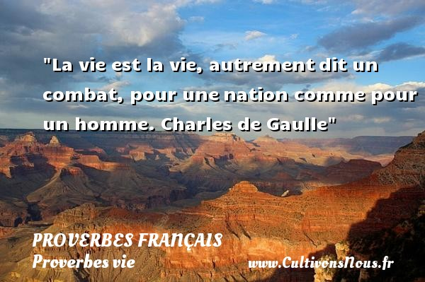 La vie est la vie, autrementdit un combat, pour unenation comme pour un homme.  Charles de Gaulle  Un proverbe sur la vie PROVERBES FRANÇAIS - Proverbes français - Proverbes vie