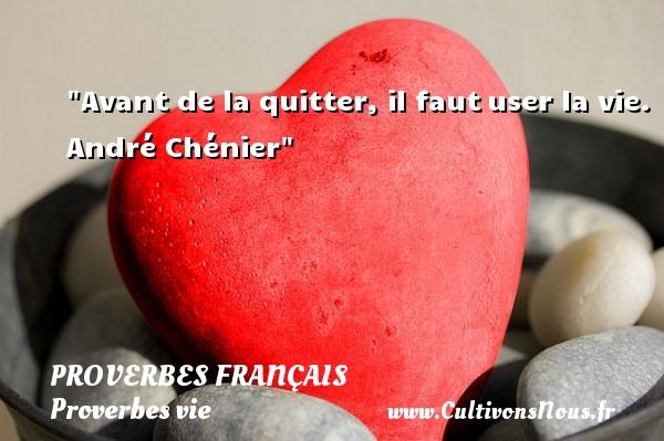 Proverbes français - Proverbes vie - Avant de la quitter, il fautuser la vie.  André Chénier  Un proverbe sur la vie PROVERBES FRANÇAIS