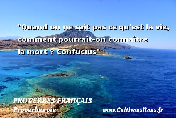 Proverbes français - Proverbes vie - Quand on ne sait pas cequ est la vie, commentpourrait-on connaître lamort ?  Confucius  Un proverbe sur la vie PROVERBES FRANÇAIS