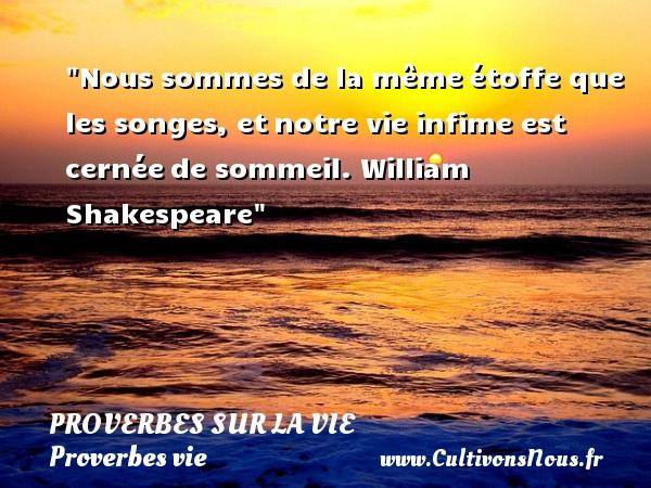 Nous sommes de la mêmeétoffe que les songes, etnotre vie infime est cernéede sommeil.  William Shakespeare  Un proverbe sur la vie PROVERBES FRANÇAIS - Proverbes français - Proverbes vie