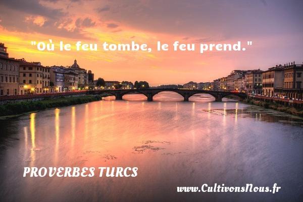Proverbes turcs - Où le feu tombe, le feu prend.   Un proverbe turc PROVERBES TURCS