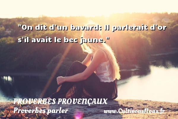 Proverbes provençaux - Proverbes parler - On dit d un bavard: Il parlerait d or s il avait le bec jaune.   Un proverbe provençal PROVERBES PROVENÇAUX