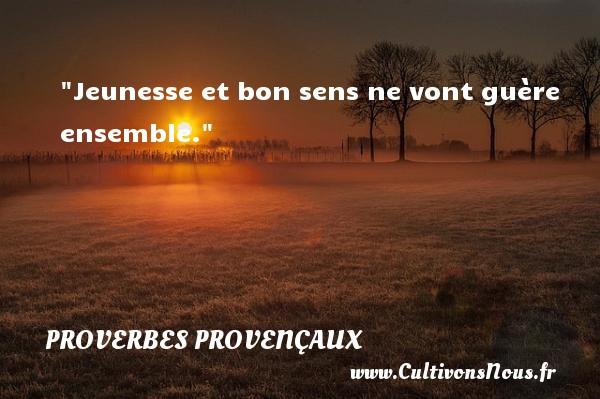 Jeunesse et bon sens ne vont guère ensemble.   Un proverbe provençal PROVERBES PROVENÇAUX - Proverbes provençaux