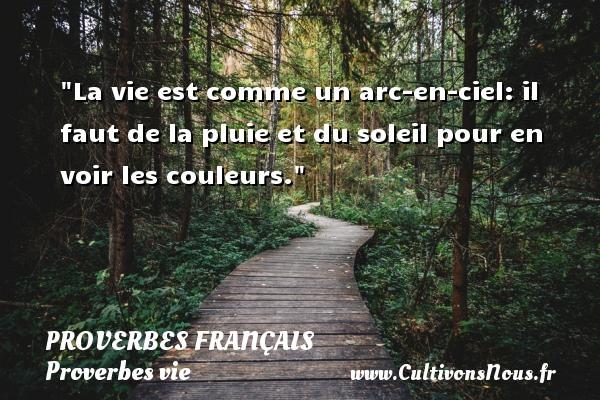 Proverbes français - Proverbes vie - La vie est comme un arc-en-ciel: il faut de la pluie et du soleil pour en voir les couleurs.   Un proverbe sur la vie PROVERBES FRANÇAIS