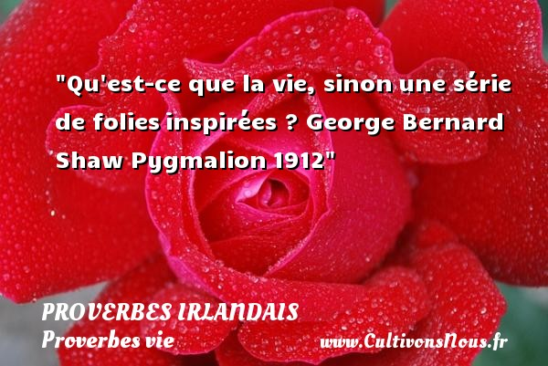 Proverbes irlandais - Proverbes vie - Qu est-ce que la vie, sinonune série de foliesinspirées ?  George Bernard Shaw  Pygmalion1912  Un proverbe sur la vie PROVERBES IRLANDAIS