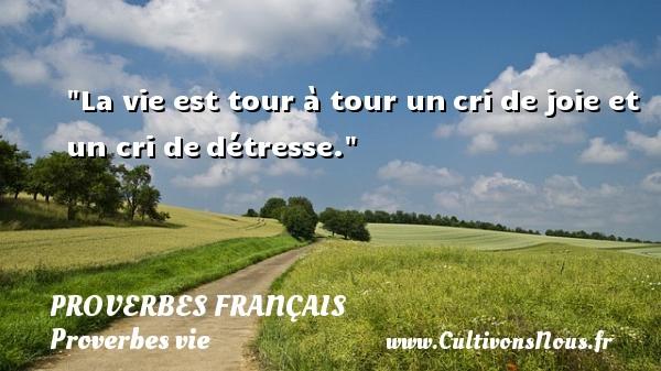Proverbes français - Proverbes vie - La vie est tour à tour uncri de joie et un cri dedétresse.  Un proverbe sur la vie PROVERBES FRANÇAIS