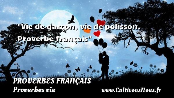 Proverbes français - Proverbes vie - Vie de garçon, vie depolisson.  Proverbe français  Un proverbe sur la vie PROVERBES FRANÇAIS