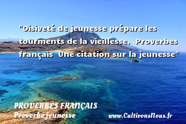 Proverbes français - Proverbe jeunesse - Oisiveté de jeunesse prépare les tourments de la vieillesse.   Proverbes français   Une citation sur la jeunesse PROVERBES FRANÇAIS