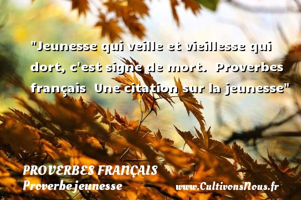 Proverbes français - Proverbe jeunesse - Proverbes vieillesse - Jeunesse qui veille et vieillesse qui dort, c est signe de mort.   Proverbes français   Une citation sur la jeunesse PROVERBES FRANÇAIS