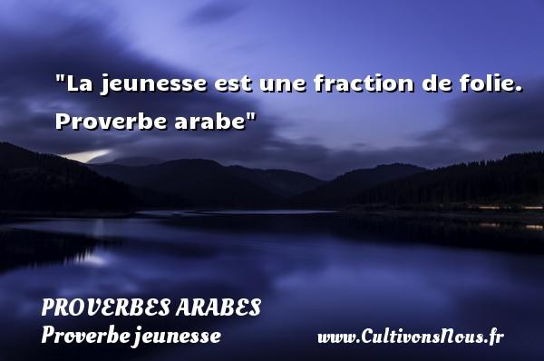 La jeunesse est une fraction de folie.   Proverbe arabe   Un proverbe sur la jeunesse PROVERBES ARABES - Proverbe jeunesse