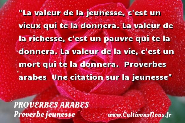 Proverbes arabes - Proverbe jeunesse - La valeur de la jeunesse, c est un vieux qui te la donnera. La valeur de la richesse, c est un pauvre qui te la donnera. La valeur de la vie, c est un mort qui te la donnera.   Proverbes arabes   Une citation sur la jeunesse PROVERBES ARABES