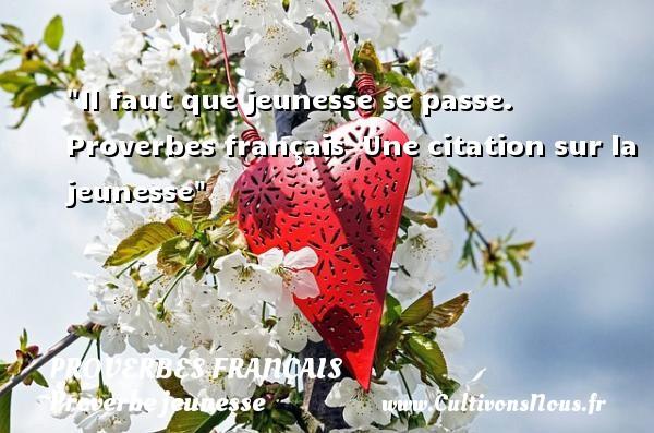 Proverbes français - Proverbe jeunesse - Il faut que jeunesse se passe.   Proverbes français   Une citation sur la jeunesse PROVERBES FRANÇAIS