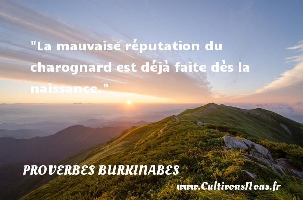 Proverbes burkinabes - Proverbes Naissance - La mauvaise réputation du charognard est déjà faite dès la naissance.   Un proverbe burkinabé   Un proverbe sur la naissance PROVERBES BURKINABES