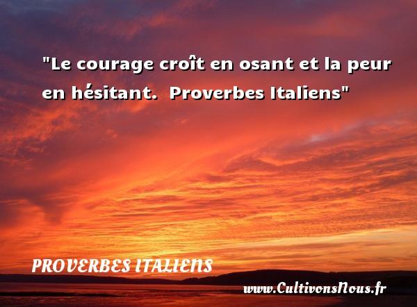 Le courage croît en osant et la peur en hésitant.   Proverbes Italiens   Un proverbe sur la peur  - Citation peur