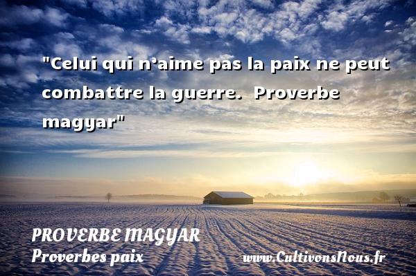 Proverbe magyar - Proverbes paix - Celui qui n'aime pas la paix ne peut combattre la guerre.   Proverbe magyar   Un proverbe sur la Paix PROVERBE MAGYAR