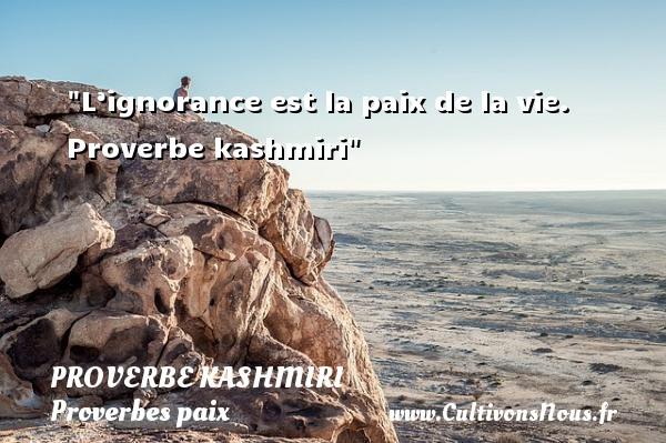 L'ignorance est la paix de la vie.   Proverbe kashmiri   Un proverbe sur la Paix  - Proverbes paix