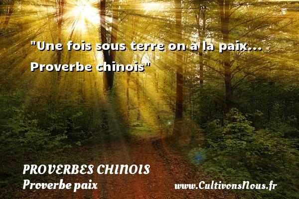 proverbes chinois - Une fois sous terre on a la paix...   Proverbe chinois   Un proverbe sur la Paix PROVERBES CHINOIS