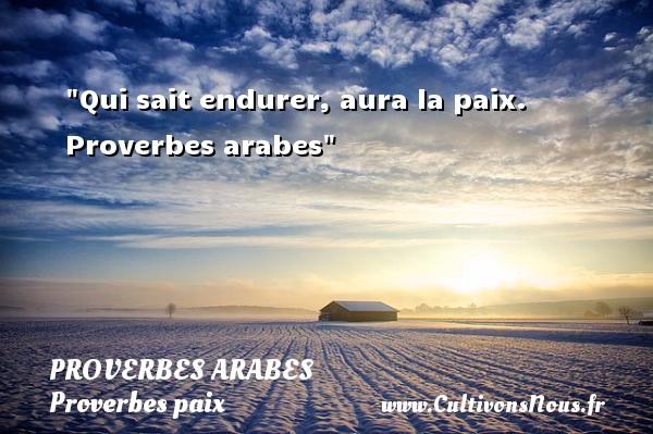 Qui sait endurer, aura la paix.   Proverbes arabes   Un proverbe sur la Paix  - Proverbes paix
